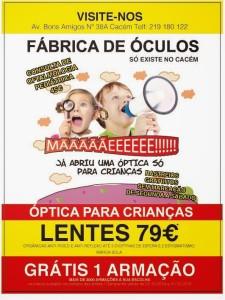 Fábrica dos óculos Cacém óptica para crianças